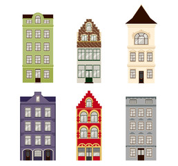 Cute retro houses exterior set. Collection of European building facades. Traditional architecture of Belgium and Netherlands. Vector icons