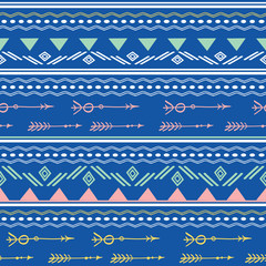Blue pink tribal arrows seamless pattern. Great for folk modern wallpaper, backgrounds, invitations, packaging design projects. Surface pattern design.