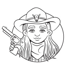 Outline isolated vector round illustration with young rodeo girl in cowboy hat and revolver in her hand.Can used for coloring book, printing on clothes, bahners, posters, web design.