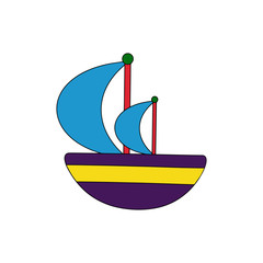 Sailboat cartoon illustration isolated on white background for children color book