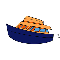 Boat cartoon illustration isolated on white background for children color book