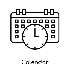 Calendar icon vector sign and symbol isolated on white background, Calendar logo concept