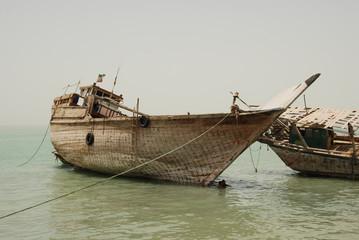 Wall Murals Shipwreck Traditional vessels moored in Qeshm Island