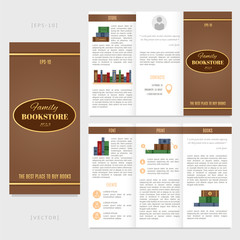 Tri-fold bookstore brochure template. Good for advertising and information printed products.