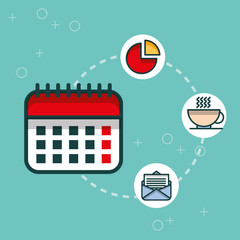 business calendar chart email coffee cup office