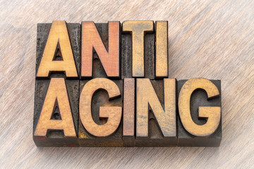 anti-aging - word abstract in wood type