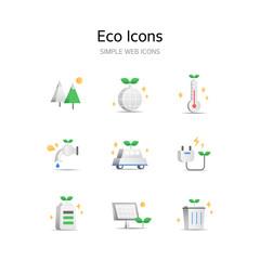 Various Eco stereoscopic icons