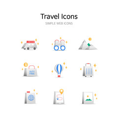 Various Travel stereoscopic icons