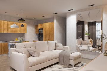3d render Interior design in Scandinavian style, living room and kitchen