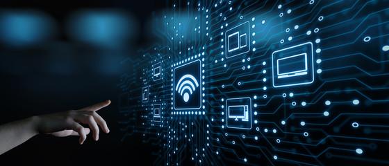 Fototapeta Wi Fi wireless  concept. Free WiFi network signal technology internet concept obraz