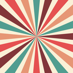 retro sunburst background vector pattern with a vintage color palette of burgundy red pink peach teal blue and beige white in a radial striped design with nostalgic style