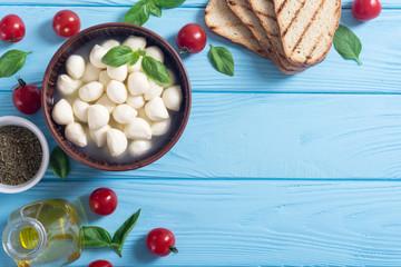 Mozzarella , cherry tomatoes and bread