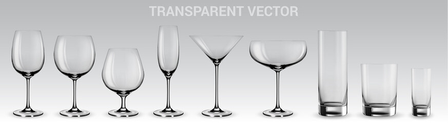Set of vector glasses.  Set of transparent vector glasses for wine, martini, champagne and other Fototapete