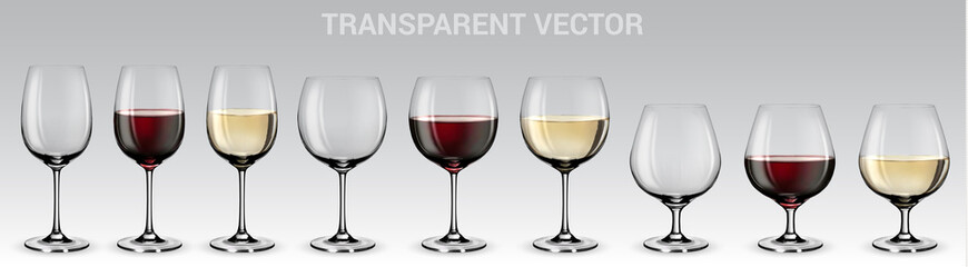 Set of vector wine glasses.  Set of transparent vector glasses with red and white wine Wall mural