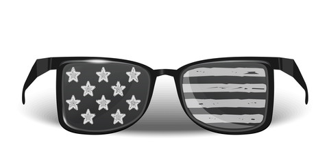 USA flag on sunglasses accessory. United States of America glasses. Glasses with a picture of the American flag. Vector illustration