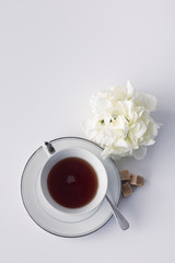 Hot black tea with sugar