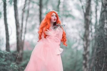Young girl looks like a doll in fantasy world with very long hair in pink dress on blue background. A beautiful girl with pale skin and red lips. Renaissance fantasy woman in spring forest