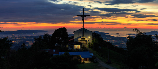 Beautiful sunset with Jesus Cross