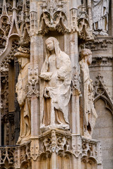 Angels statue in Rouen Cathedral, a Catholic church in Rouen, Normandy, France