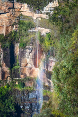 Rainbow at Bridal Veil Falls from Govetts Leap Lookout, Blue Mountains, Australia