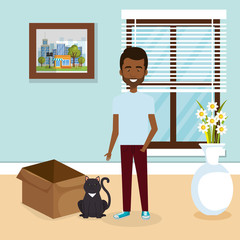 young man with cute mascot in the house vector illustration design