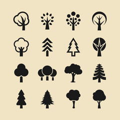 Tree and forest icon set
