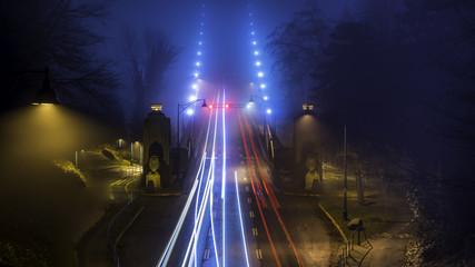 Lions Gate Brigde, long exposure on a foggy night. January 2018.