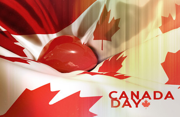 Canada day Canadian Independence day 1st july Canada waving flag Red heart is brighting inside Canada maple leaves flag Gradient retro vintage photo film Celebration First july 3d illustration