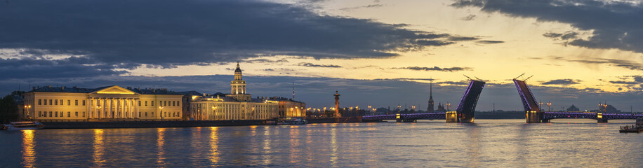 Saint Petersburg panorama sunrise city skyline at Palace Bridge, Saint Petersburg, Russia