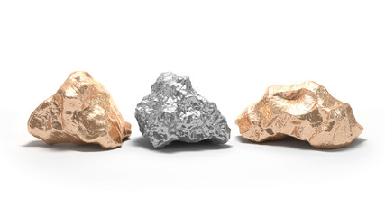 White silver and golden nuggets on a white background. 3d render