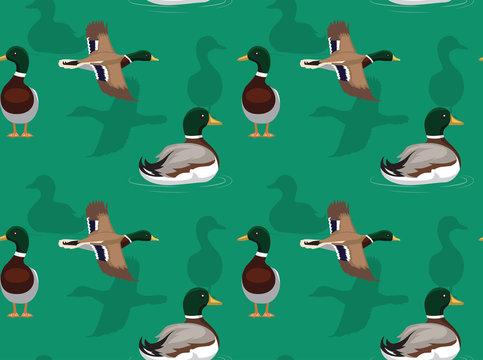 Duck Mallard Flying Pose Background Seamless Wallpaper