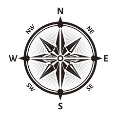 Rose of wind or vector navigation compass