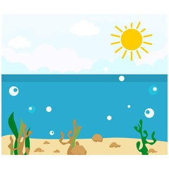summer coast beach underwater sea ocean scenery background