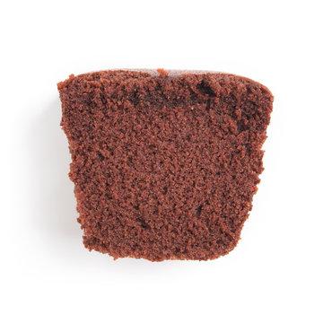 sliced bar cake chocolate slice slices in white background