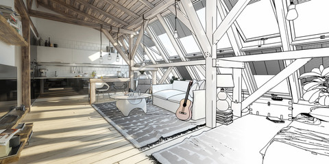 My place under the roof 01 (panoramic line drawing)