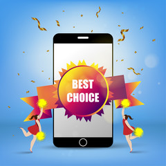 Smart phone with rosette best choice and young happy cheerleader girl