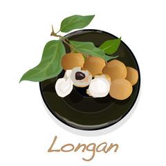 Longan, Dimocarpus longan.  Longan vector illustration on dish isolated white background.