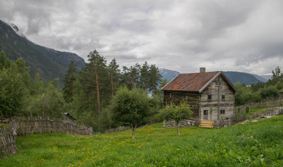 Old houses in ecomuseum in Norway