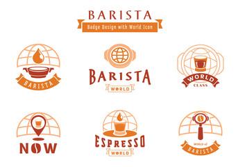 barista badge design with world icon