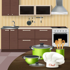 Kitchen Interior With Cookware Illustration