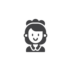 Maid woman vector icon. filled flat sign for mobile concept and web design. Cleaner female simple solid icon. Symbol, logo illustration. Pixel perfect vector graphics