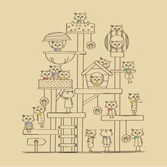 バンダナ ネコ キャットタワー イラスト