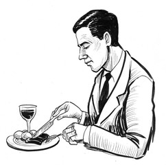 Man having a lunch. Ink black and white illustration