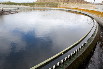 Wastewater Flows Over Weirs at a Wastewater treatment Plant