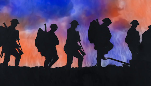 Outline of WWI soldiers walking over colourful blasts
