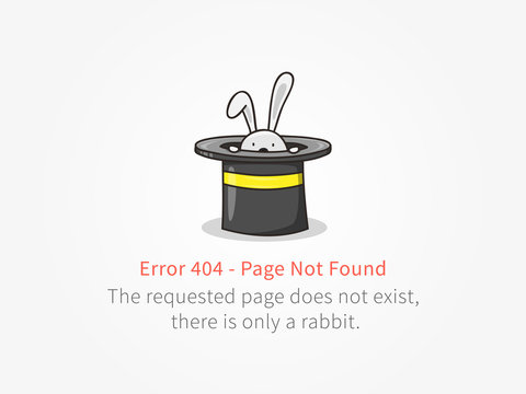 Error 404 page with a little rabbit with a hat vector design. Website 404 page creative concept. 404 web page error creative design. Modern 404 page not found concept.