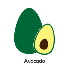 Avocado with slice in cartoon style, card with fruit for kid, preschool activity for children, vector illustration