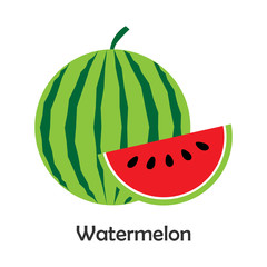 Watermelon with slice in cartoon style, card with fruit for kid, preschool activity for children, vector illustration