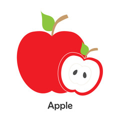 Apple with slice in cartoon style, card with fruit for kid, preschool activity for children, vector illustration