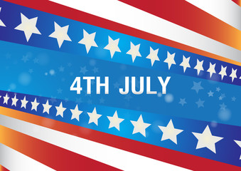 4th July independence day with flags  celebration vector background.